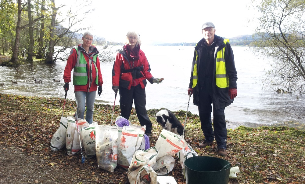 PACT collected 10 bags of litter on a 200m stretch of Ullswater