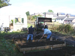 Appleby Edibles planters with topsoil donated by Story Homes in Appleby